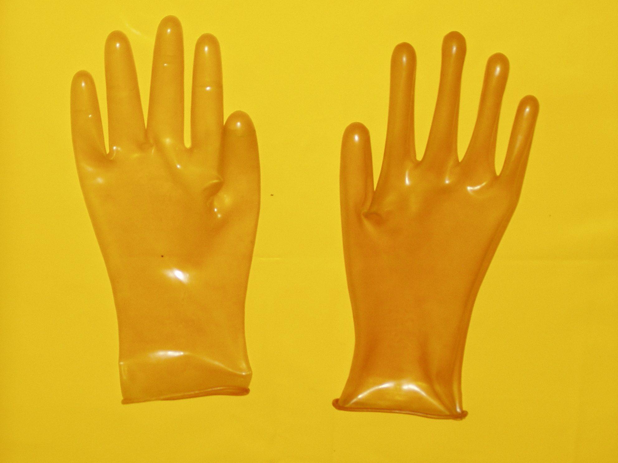 (991) hochglänzende transparente Latexhandschuhe Gr. 7,5 neu