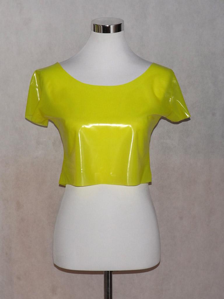 (869) sehr zartes Latex-Top gelb-transparent Gr. 36-38,